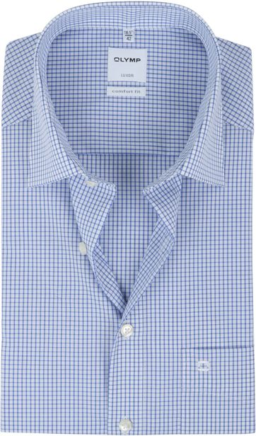 OLYMP Luxor Short Sleeve Check Blue