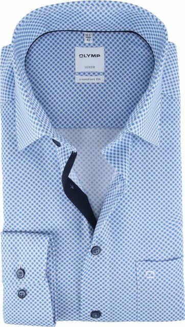 OLYMP Overhemd Luxor CF Blauw Partroon