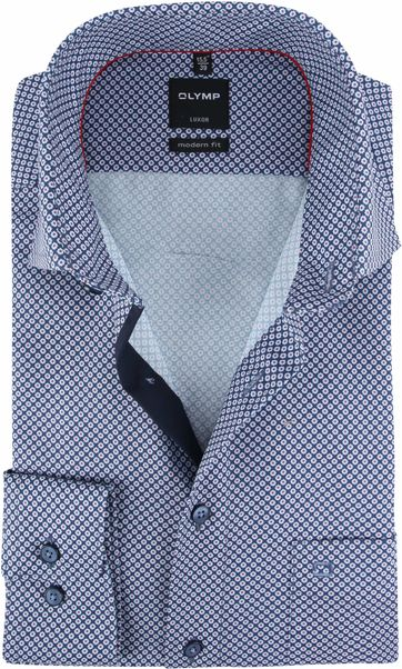 OLYMP Overhemd Luxor MF Navy Rood
