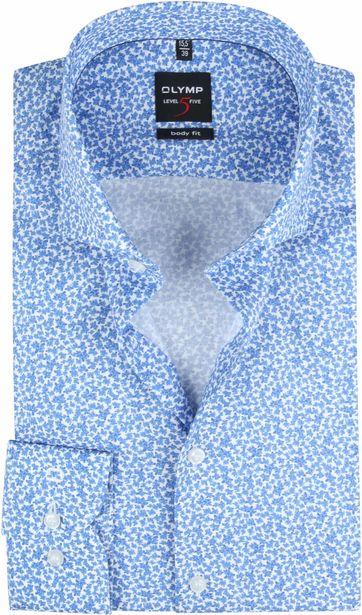 OLYMP Overhemd Lvl 5 Bloemen Blauw