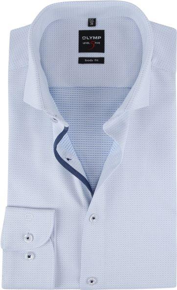 OLYMP Overhemd Lvl 5 Dessin Lichtblauw