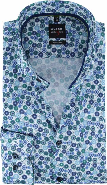 OLYMP Overhemd Lvl 5 Groen Dessin