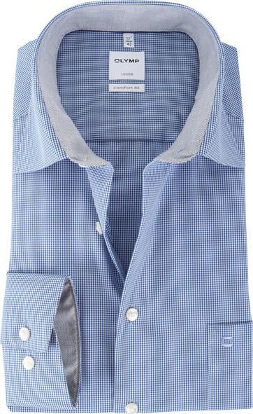 Olymp Shirt Blue Check Comfort Fit