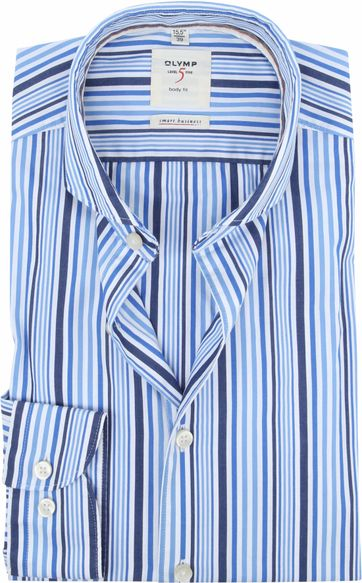 OLYMP Shirt Level 5 Blue Stripes