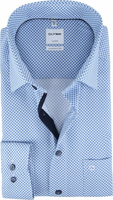 OLYMP Shirt Luxor CF Blue Pattern