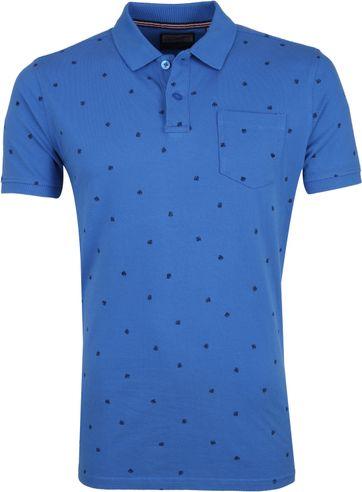 Petrol Poloshirt Blau Blätter