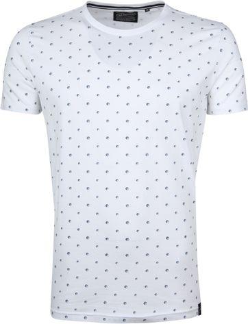 Petrol T-shirt Wit Stippen