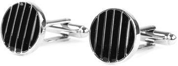 Profuomo Cufflinks Silver Black Round