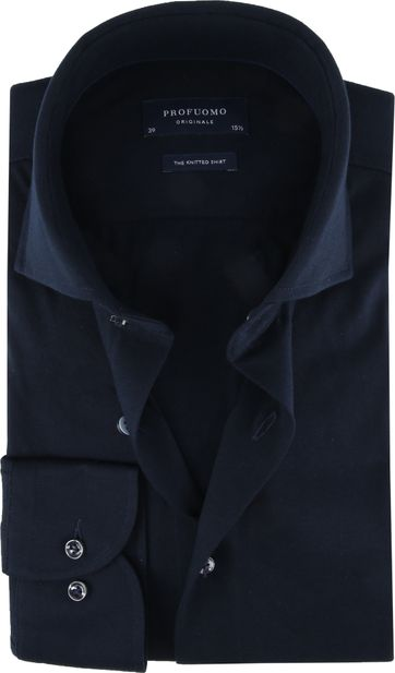 Profuomo Knitted Jersey Hemd Dunkelblau