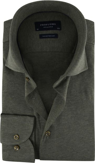Profuomo Knitted Jersey Hemd Grün