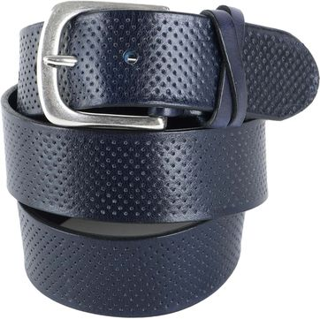 Profuomo Leather Belt Roma Navy