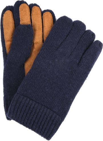 Profuomo Leather Gloves Navy