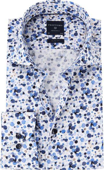 Profuomo Overhemd Polka Dot Blauw