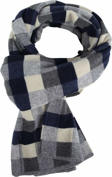 Profuomo Scarf Navy Checks Wool