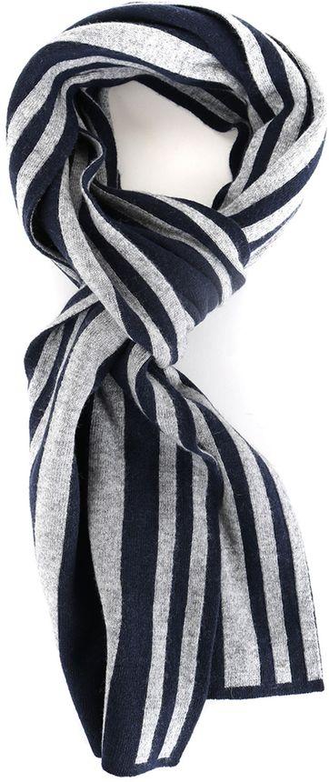 Profuomo Scarf Navy + Grey Stripes