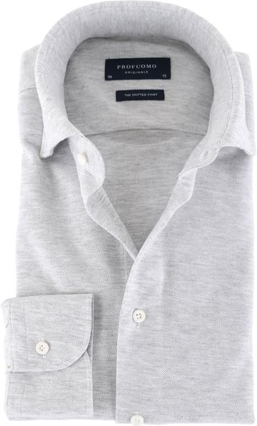 Profuomo Shirt Knitted Slim Fit Grey