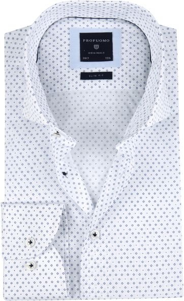 Profuomo Shirt SF Printed Blue