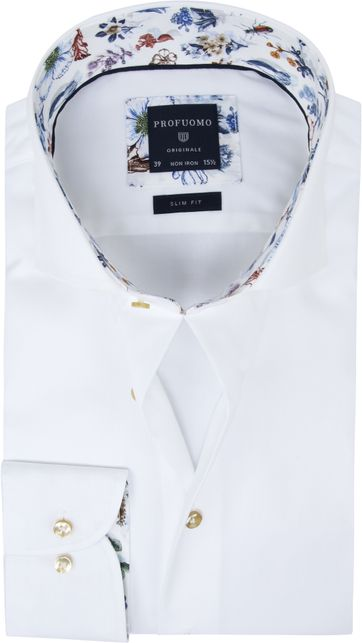 Profuomo Shirt SF White Flowers