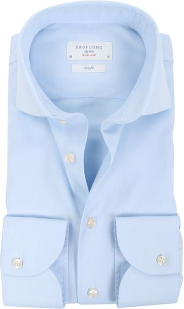 Profuomo Sky Blue Travel Shirt Blauw