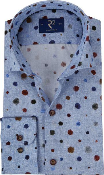 R2 Overhemd Blauw Dessin