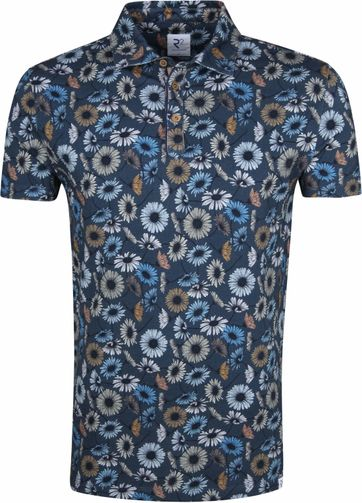R2 Poloshirt Flowers Dark Blue