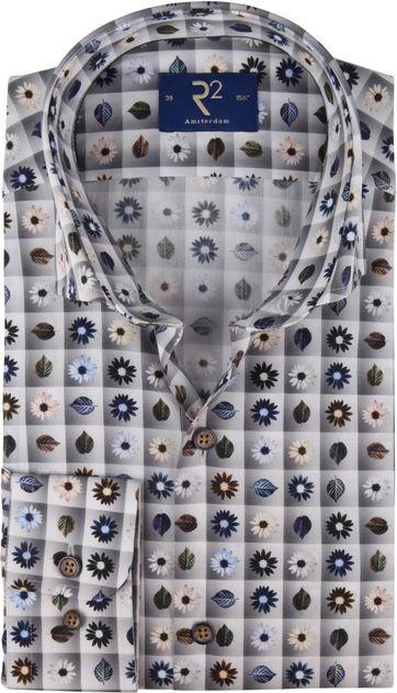 R2 Shirt Flowers grey