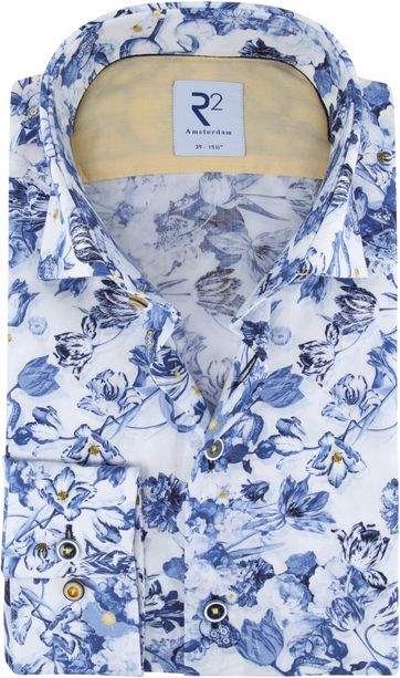 R2 Shirt White Blue Flowers