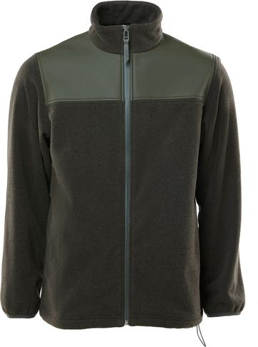 Rains Fleece Zip Vest Donkergroen