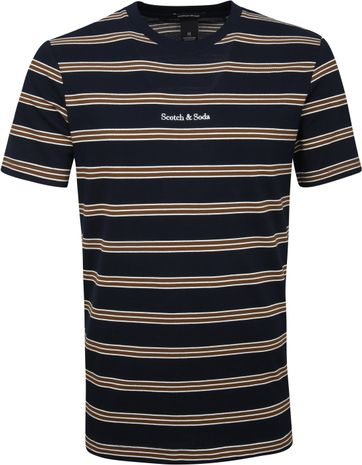 Scotch & Soda T-shirt Strepen Navy Bruin
