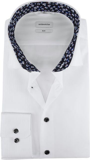 Seidensticker Hemd Slim Weiß Blumen