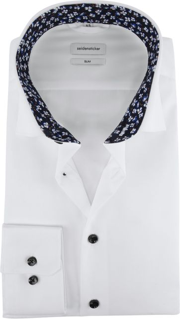 Seidensticker Shirt Slim White Flower