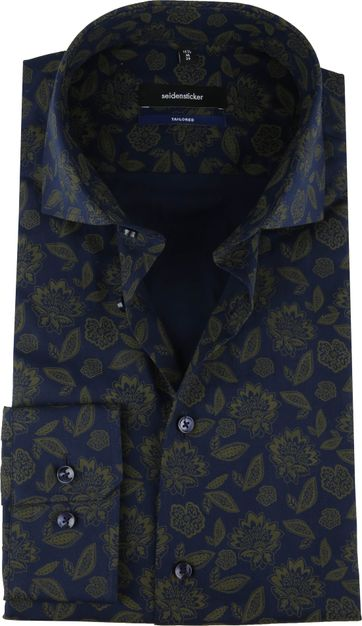 Seidensticker TF Overhemd Bloemen Navy