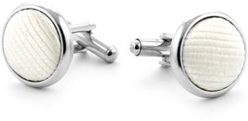 Silk Cufflinks Ecru F09