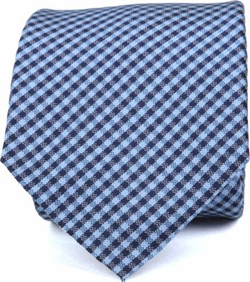 Silk Tie Dessin Blue Checks K82-4