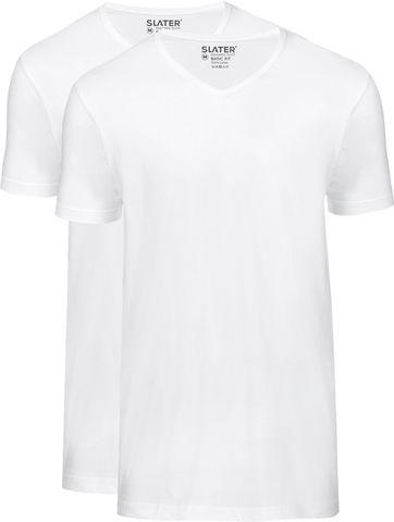 Slater 2-pack Basic Fit T-shirt V-hals Wit