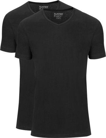 Slater 2-pack Basic Fit T-shirt V-hals Zwart