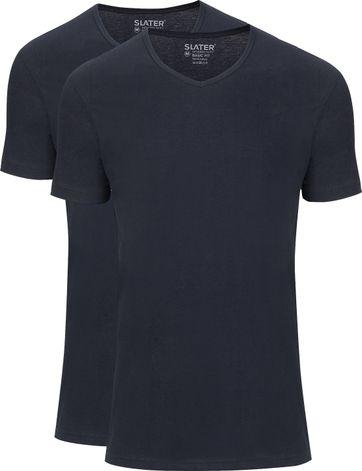 Slater 2-pack Basic Fit T-shirt V-neck Navy