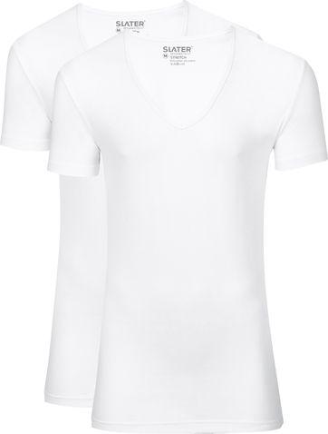 Slater 2-pack Stretch Deep V-neck T-shirt White