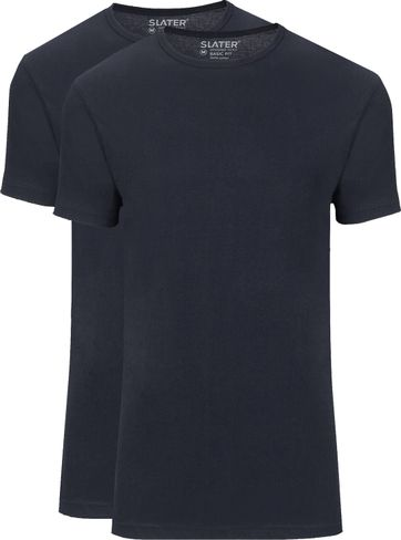 Slater 2er-Pack Basic Fit T-shirt Dunkelblau