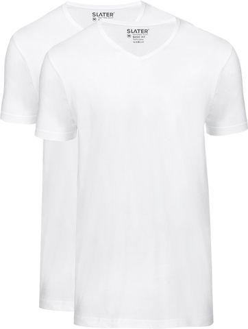 Slater 2er-Pack Basic Fit T-shirt V-Ausschnitt Weiß