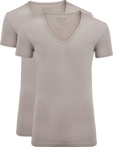 Slater 2er-Pack Stretch T-shirt V-Ausschnitt Beige