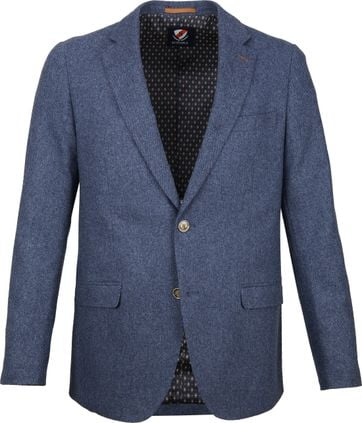 Suitable Blazer Nibe Blauw Herringbone