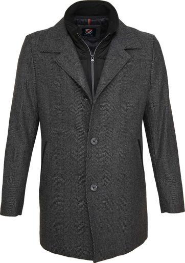 Suitable Geke Coat Herringbone Antraciet