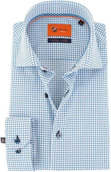 Suitable Hemd Blau Weiß Punkt