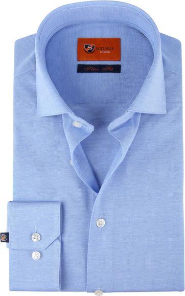 Suitable Jersey Overhemd Lichtblauw