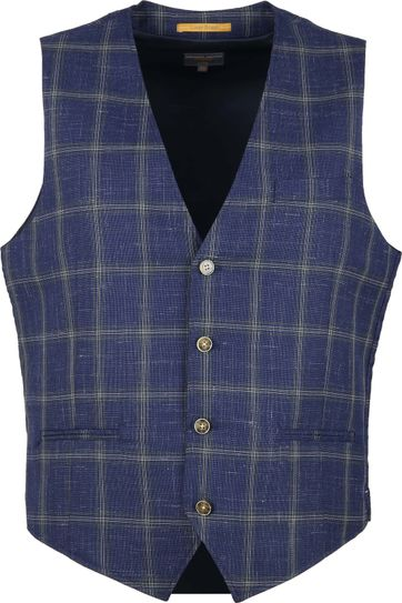 Suitable Kris Waistcoat Check Blue