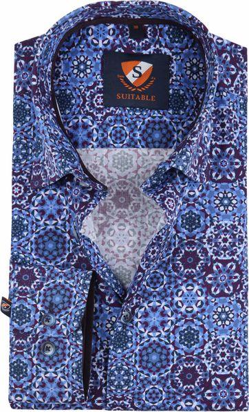 Suitable Overhemd Blauw Paars Dessin