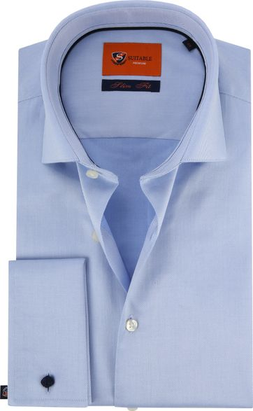 Suitable Overhemd Blauw Twill