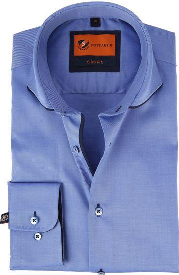 Suitable Overhemd Indigo Blauw
