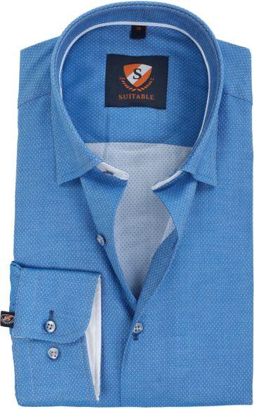 Suitable Overhemd Kobalt Blauw Pinpoint